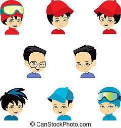 Un niño con nueve caras