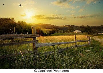 Un paisaje rural de arte. Campo y hierba