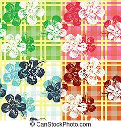 Un patrón de revisión de flores tropicales