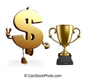 Un personaje de dólar con trofeo