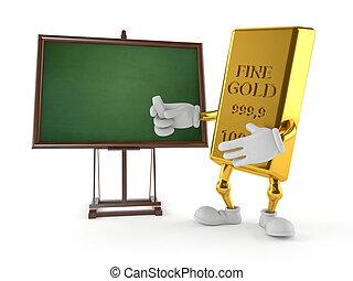 Un personaje de oro con pizarra en blanco