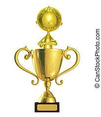 Un personaje dorado con trofeo
