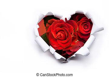 Un ramo de rosas rojas y corazones de papel en San Valentín