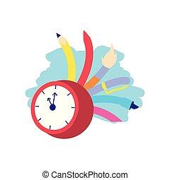 Un reloj de tiempo con lápices y colores