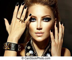 Un retrato de chica modelo de moda