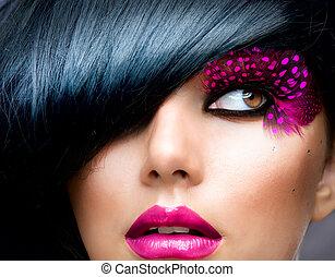 Un retrato de modelo de moda. Estilo de pelo