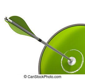 Un símbolo de éxito comercial verde con un objetivo y una flecha sobre un fondo blanco