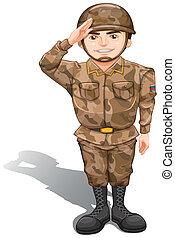 Un soldado demostrando un saludo de mano
