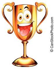 Un trofeo de oro con cara