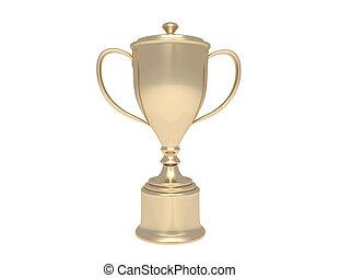 Un trofeo dorado en un pedestal de madera con un plato en blanco