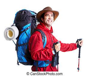 Un turista. De excursión.