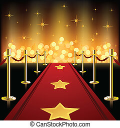 Una alfombra roja con estrellas