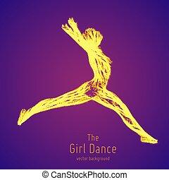 Una bailarina en un salto construida con líneas y partículas brillantes. Pose de danza voladora elegante. Concepto la belleza femenina en movimiento de baile. Intrincada silueta de femine en un club.