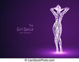 Una bailarina Vectora construida con líneas violetas y partículas brillantes. La elegante pose de baile lento. Concepto la belleza de la mujer en movimiento de baile. Intrincada silueta de femine en un club.