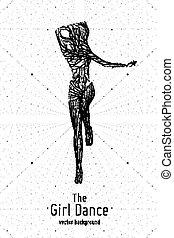 Una bailarina Vectora construida con líneas y partículas. La elegante pose de baile lento. Concepto la belleza de la mujer en movimiento de baile. Intrincada silueta de femine monocromo en un club.