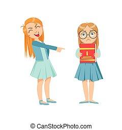 Una chica burlándose de un chico inteligente con gafas de matón adolescente demostrando travieso comportamiento delictivo incontrolable ilustración de dibujos animados