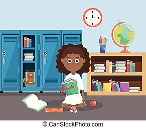 Una chica con taquillas y libros de educación en el aula
