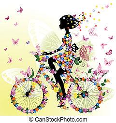Una chica en bicicleta en un romántico