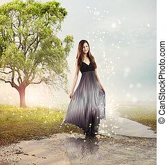 Una chica en un arroyo