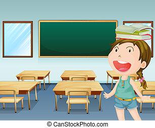 Una chica joven dentro de una clase