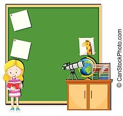 Una chica leyendo en clase
