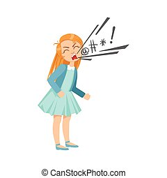 Una chica maldiciendo a una adolescente bravucona demostrando travieso comportamiento delictivo incontrolable ilustración de dibujos animados