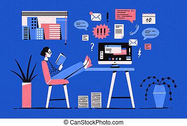 Una chica sentada con las piernas en el escritorio con computadora y libro de lectura en lugar de trabajar bajo tareas. Mujer promiscua, postergación de oficinista. Ilustración de vectores al estilo de dibujos planos.
