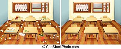 Una clase antes y después de limpiar