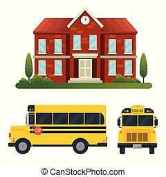 Una escuela con árboles y transporte de autobuses