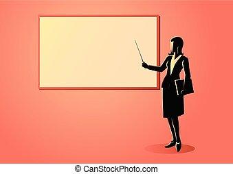 Una figura femenina parada cerca de Whiteboard