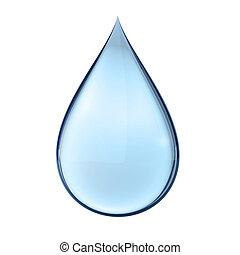 Una gota de agua 3D en blanco
