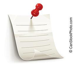 Una hoja de papel para notas sujetas por alfiler