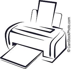 Una ilustración con una impresora