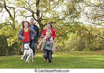 Una joven familia al aire libre caminando por el parque con un perro