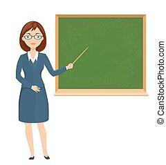 Una joven profesora apuntando a una pizarra. Ilustración de dibujos de educación. Vector