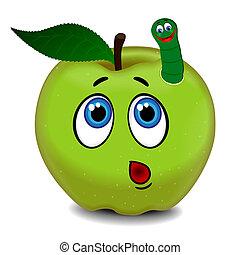 Una manzana sorpresa y una oruga