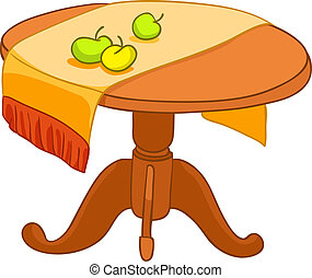 Una mesa de muebles de casa de dibujos animados