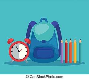 Una mochila con alarma de reloj y colores de lápices