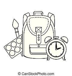 Una mochila con despertador y suministros de pintura