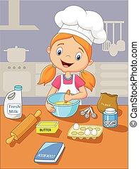 Una niña caricatura cocinando