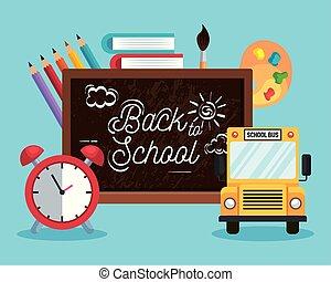 Una pizarra con autobuses escolares y libros con lápices de colores