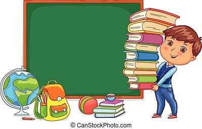 Una pizarra y un niño lindo con libros.