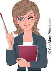 Una profesora que guiña el ojo con un palo puntiagudo