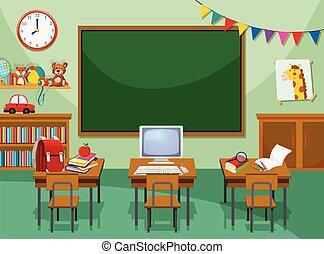 Una sala de computación vacía