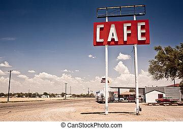 Una señal de café en la ruta 66 de Texas.