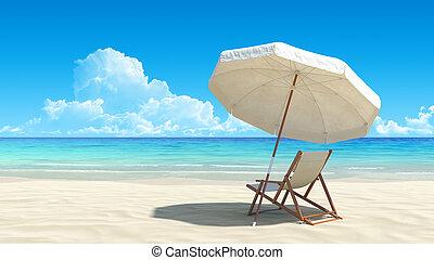 Una silla de playa y un paraguas en una playa tropical idílica