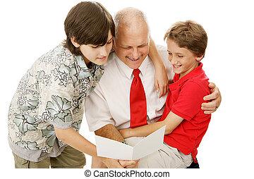 Una tarjeta de felicitación para papá