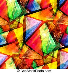 Una textura acuática acuática amarilla, verde, roja, triangulo abstracto pintura de colores diseño de agua