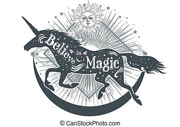 unicornio, moon., magia, estrellas, silueta