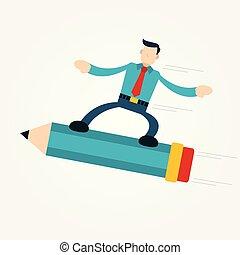 utilizar, hombre de negocios volando, lápiz